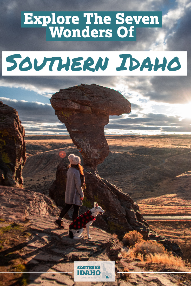 The seven wonders of Southern Idaho (near Twin Falls) include Balanced Rock, Shoshone Falls, the many hot springs in the area, Shoshone Ice Cave, City of Rocks, and more!